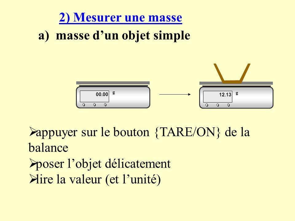 2) Mesurer une masse a) masse dun objet simple 00.00 g 12.13 g appuyer sur le bouton {TARE/ON} de la balance poser lobjet délicatement lire la valeur (et lunité)