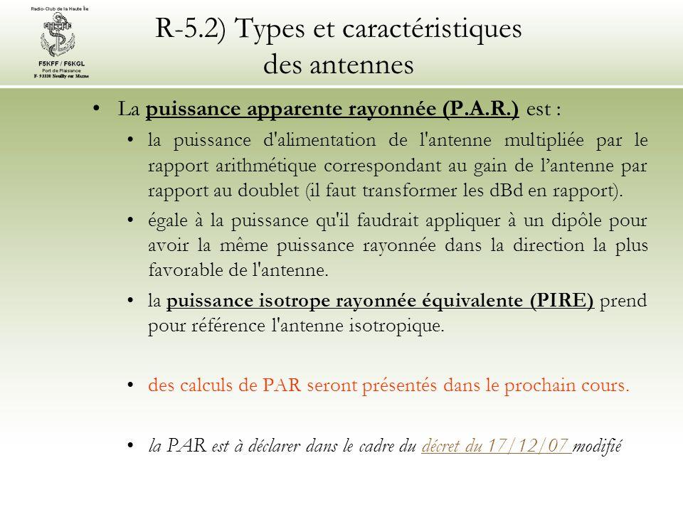 R-5.2) Types et caractéristiques des antennes La puissance apparente rayonnée (P.A.R.) est : la puissance d alimentation de l antenne multipliée par le rapport arithmétique correspondant au gain de lantenne par rapport au doublet (il faut transformer les dBd en rapport).