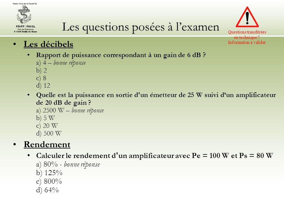Les questions posées à lexamen Les décibels Rapport de puissance correspondant à un gain de 6 dB .