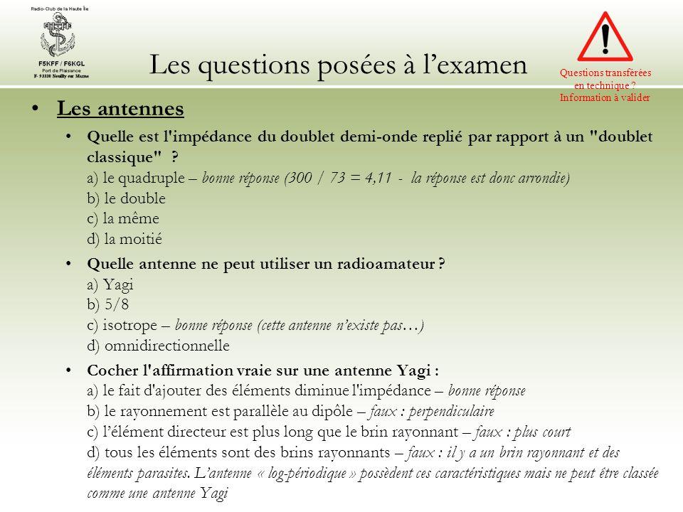 Les questions posées à lexamen Les antennes Quelle est l impédance du doublet demi-onde replié par rapport à un doublet classique .