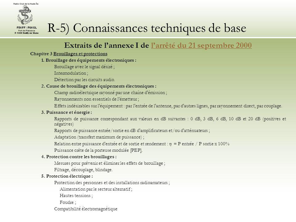 R-5) Connaissances techniques de base Extraits de lannexe I de larrêté du 21 septembre 2000larrêté du 21 septembre 2000 Chapitre 3 Brouillages et protections 1.