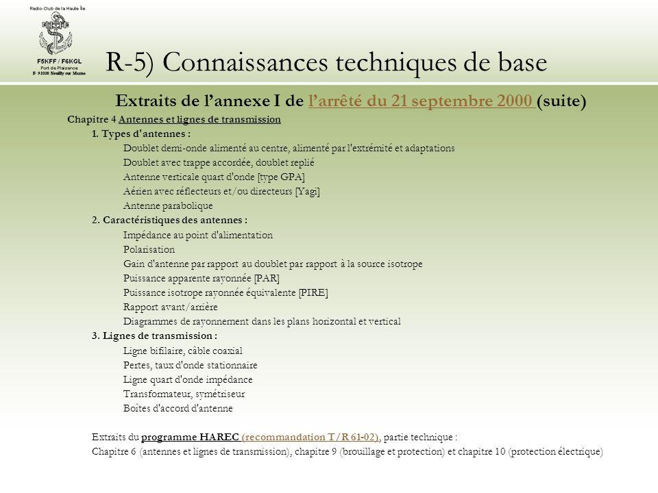 R-5) Connaissances techniques de base Extraits de lannexe I de larrêté du 21 septembre 2000 (suite)larrêté du 21 septembre 2000 Chapitre 4 Antennes et lignes de transmission 1.