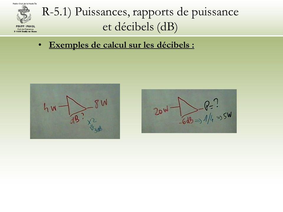R-5.1) Puissances, rapports de puissance et décibels (dB) Exemples de calcul sur les décibels :