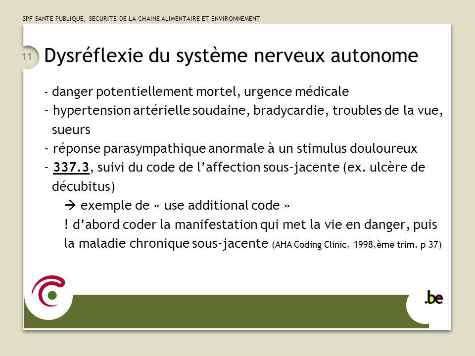 SPF SANTE PUBLIQUE, SECURITE DE LA CHAINE ALIMENTAIRE ET ENVIRONNEMENT 11 Dysréflexie du système nerveux autonome - danger potentiellement mortel, urg