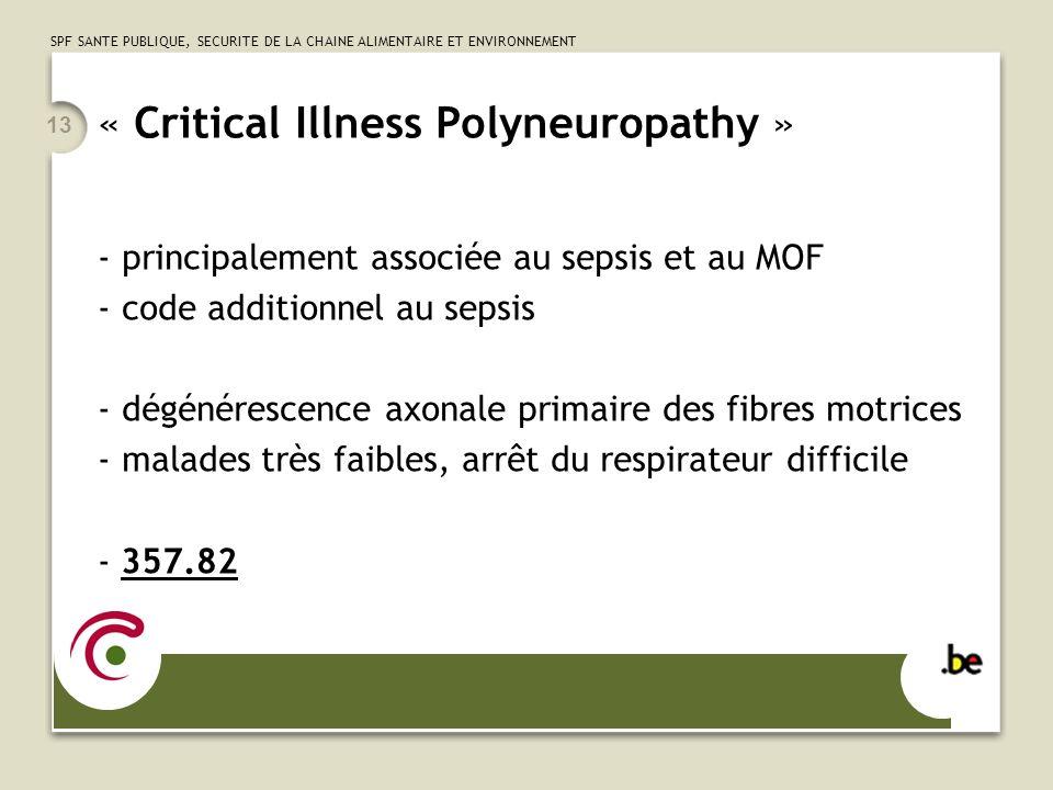 SPF SANTE PUBLIQUE, SECURITE DE LA CHAINE ALIMENTAIRE ET ENVIRONNEMENT 13 « Critical Illness Polyneuropathy » - principalement associée au sepsis et a