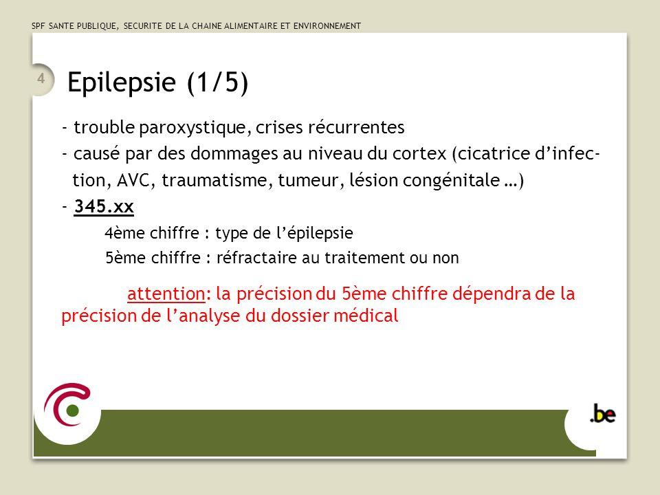SPF SANTE PUBLIQUE, SECURITE DE LA CHAINE ALIMENTAIRE ET ENVIRONNEMENT 4 Epilepsie (1/5) - trouble paroxystique, crises récurrentes - causé par des do