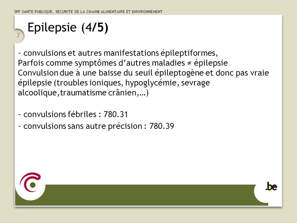 SPF SANTE PUBLIQUE, SECURITE DE LA CHAINE ALIMENTAIRE ET ENVIRONNEMENT 7 Epilepsie (4/5) - convulsions et autres manifestations épileptiformes, Parfoi