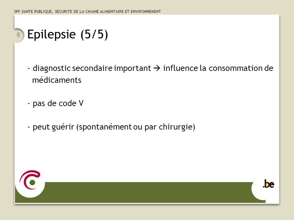 SPF SANTE PUBLIQUE, SECURITE DE LA CHAINE ALIMENTAIRE ET ENVIRONNEMENT 8 Epilepsie (5/5) - diagnostic secondaire important influence la consommation d