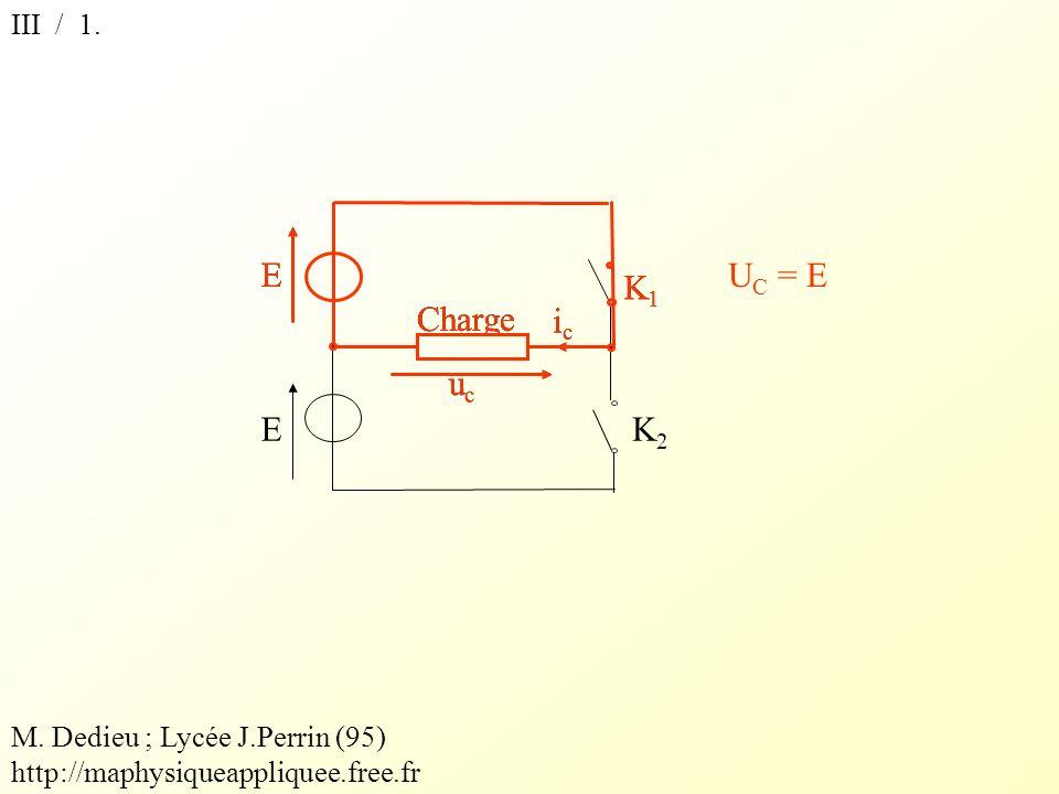 III / 1.K1K1 E EK2K2 icic ucuc Charge K1K1 E icic ucuc U C = E M.