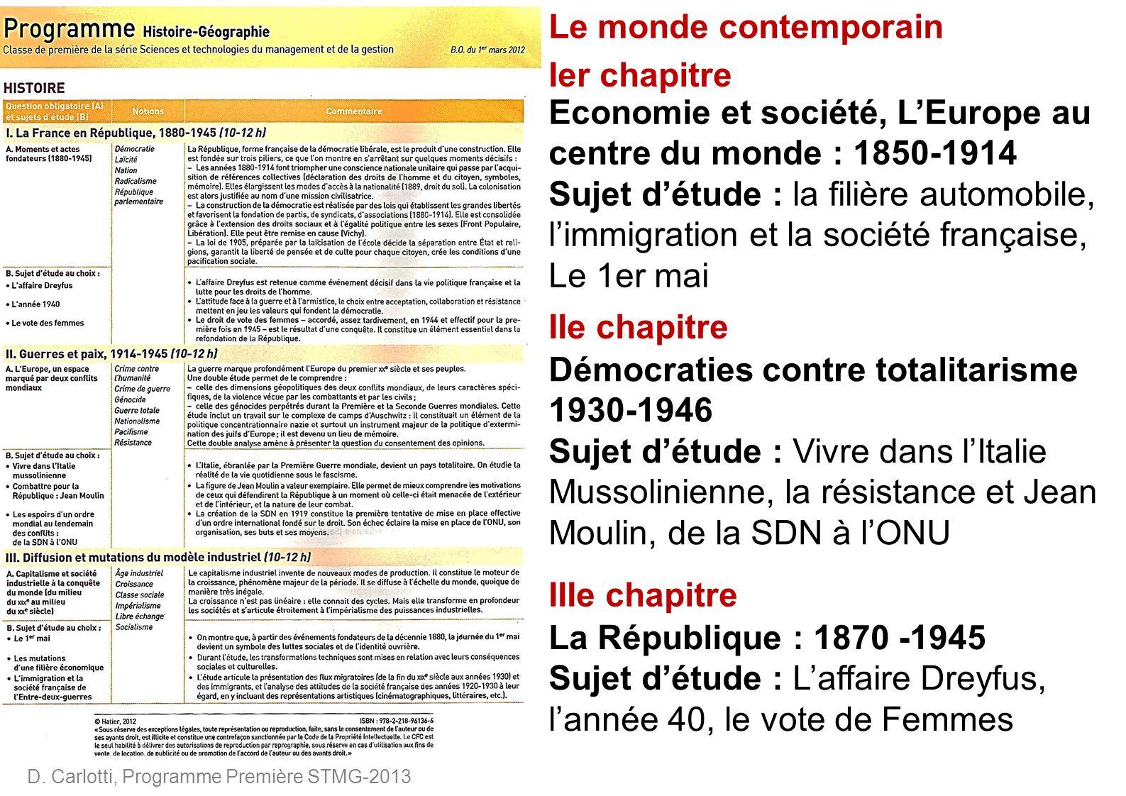 D. Carlotti, Programme Première STMG-2013 IIIe chapitre IIe chapitre Ier chapitre Economie et société, LEurope au centre du monde : 1850-1914 Sujet dé