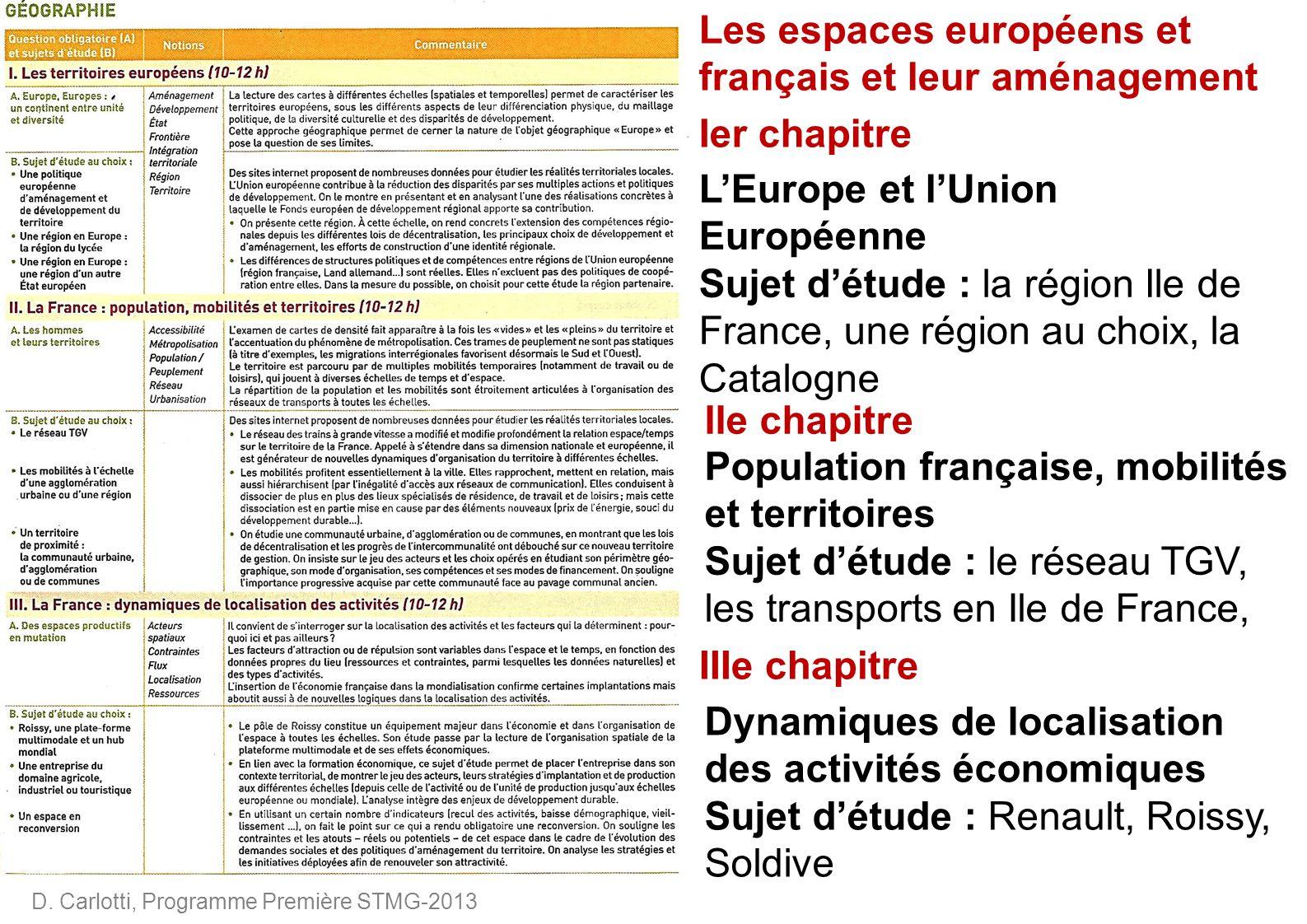 D. Carlotti, Programme Première STMG-2013 Les espaces européens et français et leur aménagement Ier chapitre IIIe chapitre IIe chapitre LEurope et lUn
