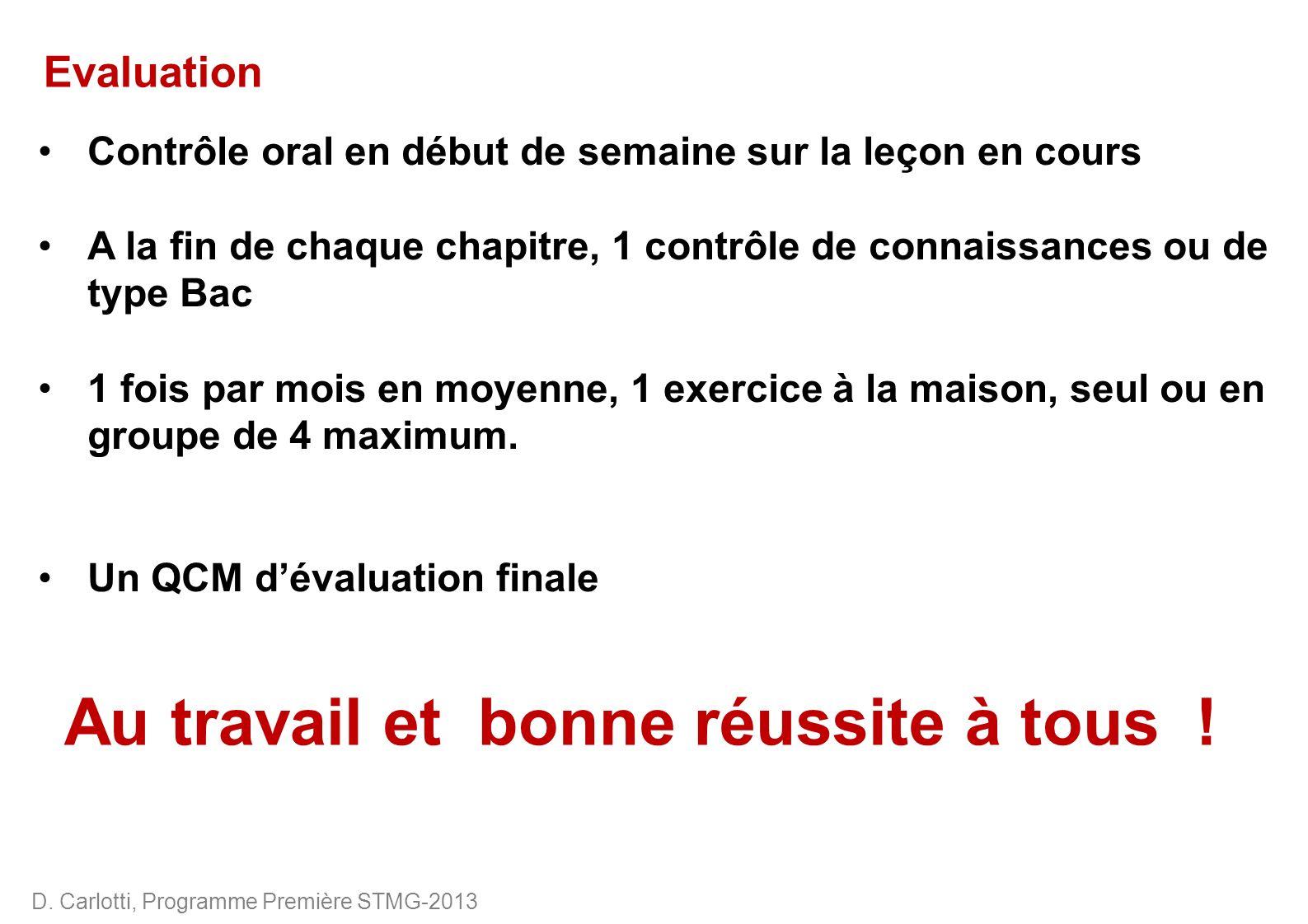 D. Carlotti, Programme Première STMG-2013 Evaluation Contrôle oral en début de semaine sur la leçon en cours A la fin de chaque chapitre, 1 contrôle d