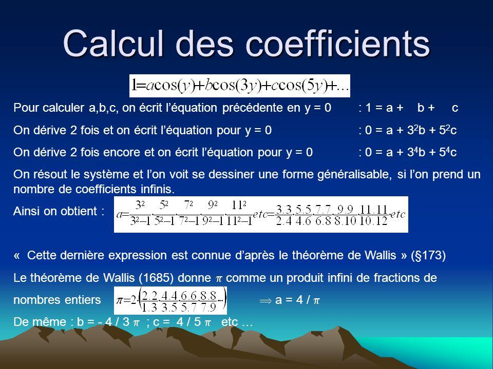 Calcul des coefficients Pour calculer a,b,c, on écrit léquation précédente en y = 0 : 1 = a + b + c On dérive 2 fois et on écrit léquation pour y = 0