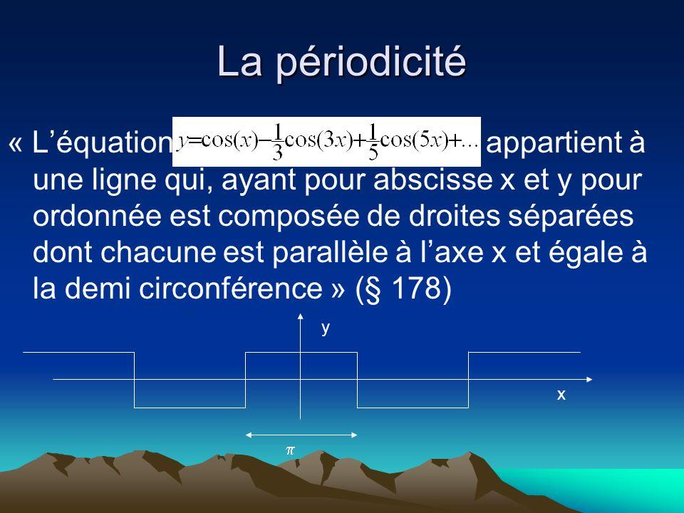 La périodicité « Léquation appartient à une ligne qui, ayant pour abscisse x et y pour ordonnée est composée de droites séparées dont chacune est para