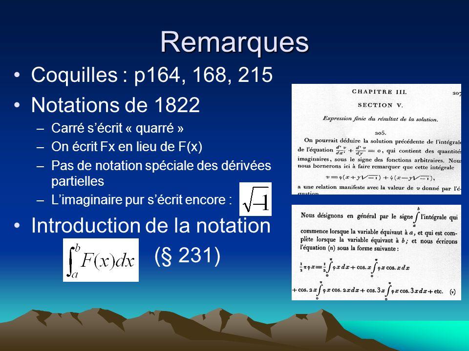 Remarques Coquilles : p164, 168, 215 Notations de 1822 –Carré sécrit « quarré » –On écrit Fx en lieu de F(x) –Pas de notation spéciale des dérivées pa