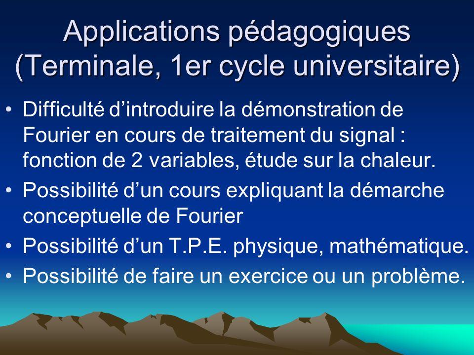 Applications pédagogiques (Terminale, 1er cycle universitaire) Difficulté dintroduire la démonstration de Fourier en cours de traitement du signal : f