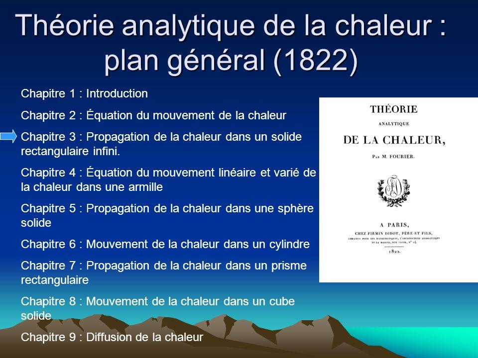 Théorie analytique de la chaleur : plan général (1822) Chapitre 1 : Introduction Chapitre 2 : Équation du mouvement de la chaleur Chapitre 3 : Propaga