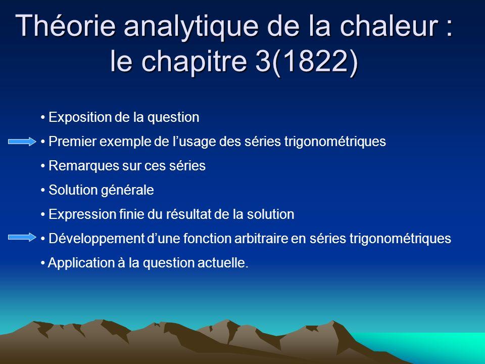 Théorie analytique de la chaleur : le chapitre 3(1822) Exposition de la question Premier exemple de lusage des séries trigonométriques Remarques sur c