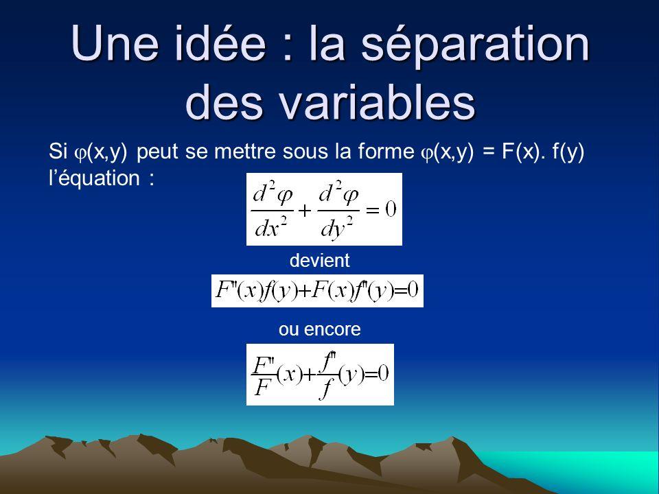 Une idée : la séparation des variables Si (x,y) peut se mettre sous la forme (x,y) = F(x). f(y) léquation : devient ou encore