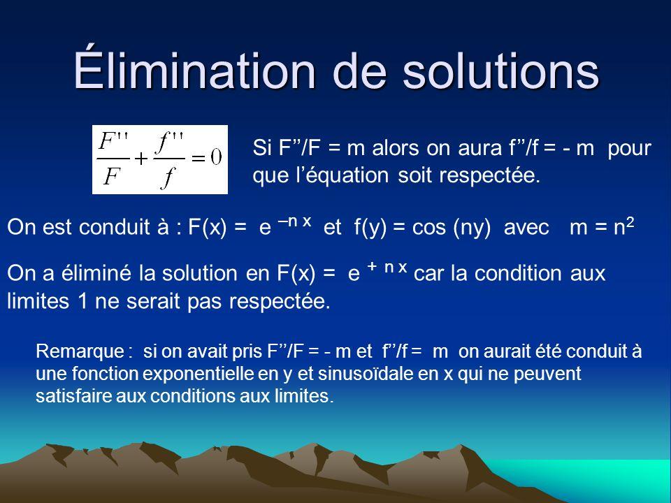 Élimination de solutions Si F/F = m alors on aura f/f = - m pour que léquation soit respectée. On est conduit à : F(x) = e –n x et f(y) = cos (ny) ave