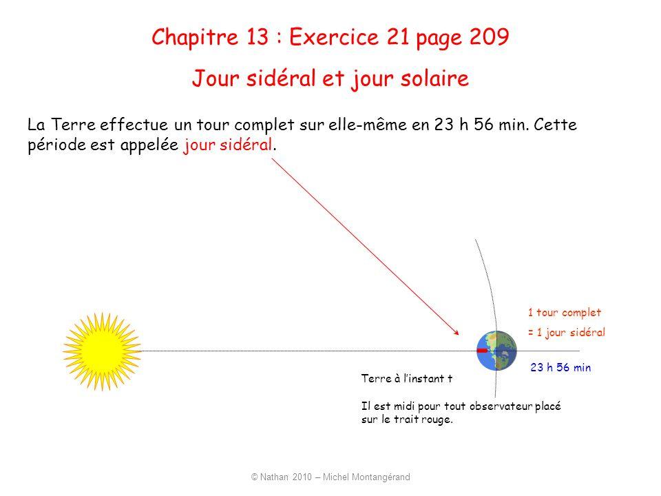 23 h 56 min 1 tour complet = 1 jour sidéral La Terre effectue un tour complet sur elle-même en 23 h 56 min. Cette période est appelée jour sidéral. Jo