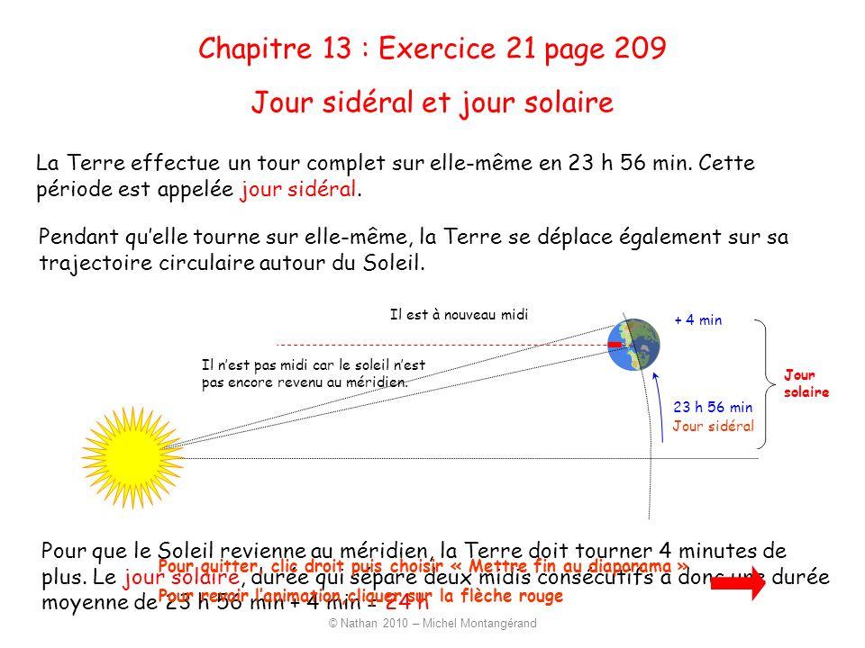 23 h 56 min Jour sidéral Jour solaire La Terre effectue un tour complet sur elle-même en 23 h 56 min. Cette période est appelée jour sidéral. Pendant