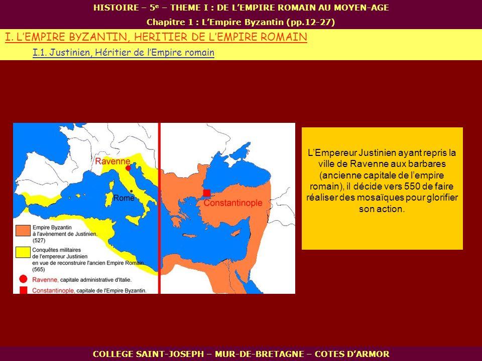 LEmpereur Justinien ayant repris la ville de Ravenne aux barbares (ancienne capitale de lempire romain), il décide vers 550 de faire réaliser des mosa