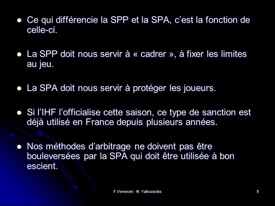 F.Veroncini - N. Yallourackis9 Ce qui différencie la SPP et la SPA, cest la fonction de celle-ci.