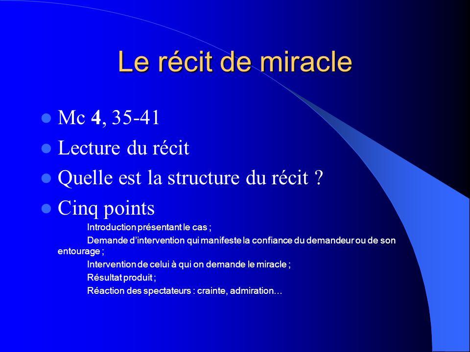 Le récit de miracle Mc 4, 35-41 Lecture du récit Quelle est la structure du récit .