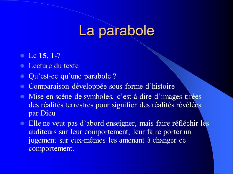La parabole Lc 15, 1-7 Lecture du texte Quest-ce quune parabole .