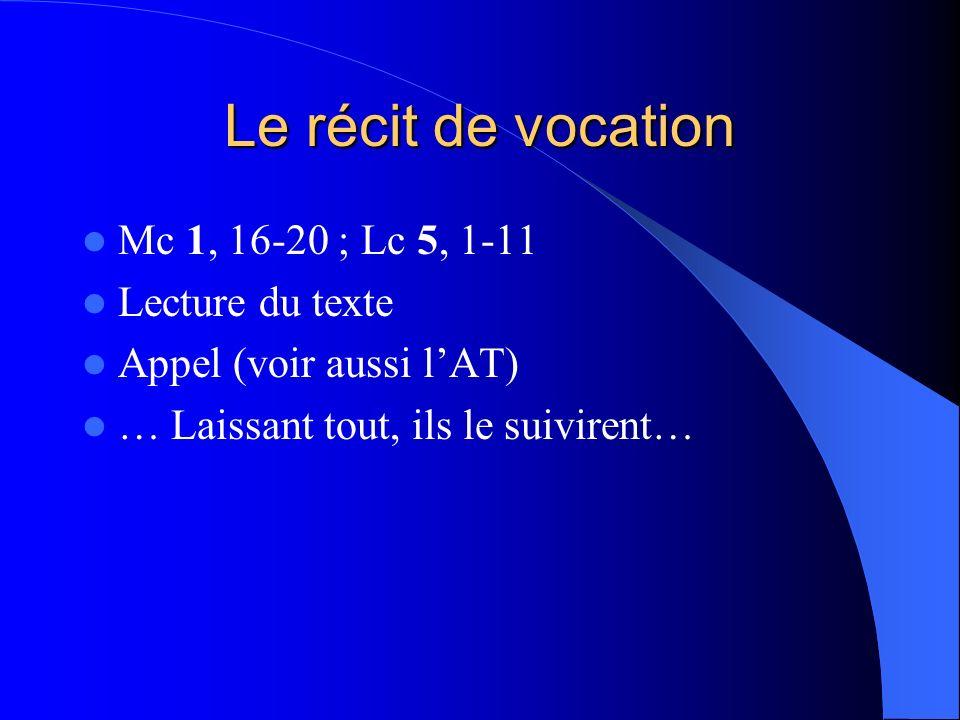Le récit de vocation Mc 1, 16-20 ; Lc 5, 1-11 Lecture du texte Appel (voir aussi lAT) … Laissant tout, ils le suivirent…