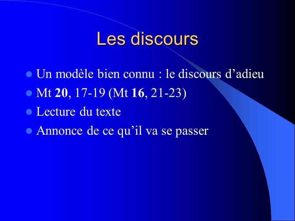 Les discours Un modèle bien connu : le discours dadieu Mt 20, 17-19 (Mt 16, 21-23) Lecture du texte Annonce de ce quil va se passer