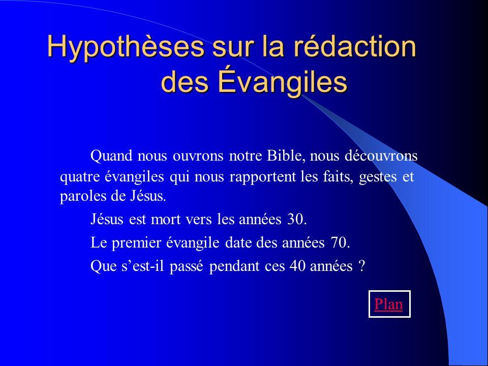 Les quatre étapes de la rédaction Le témoignage des tout débuts On regroupe les récits Premières mises par écrit Les Évangiles