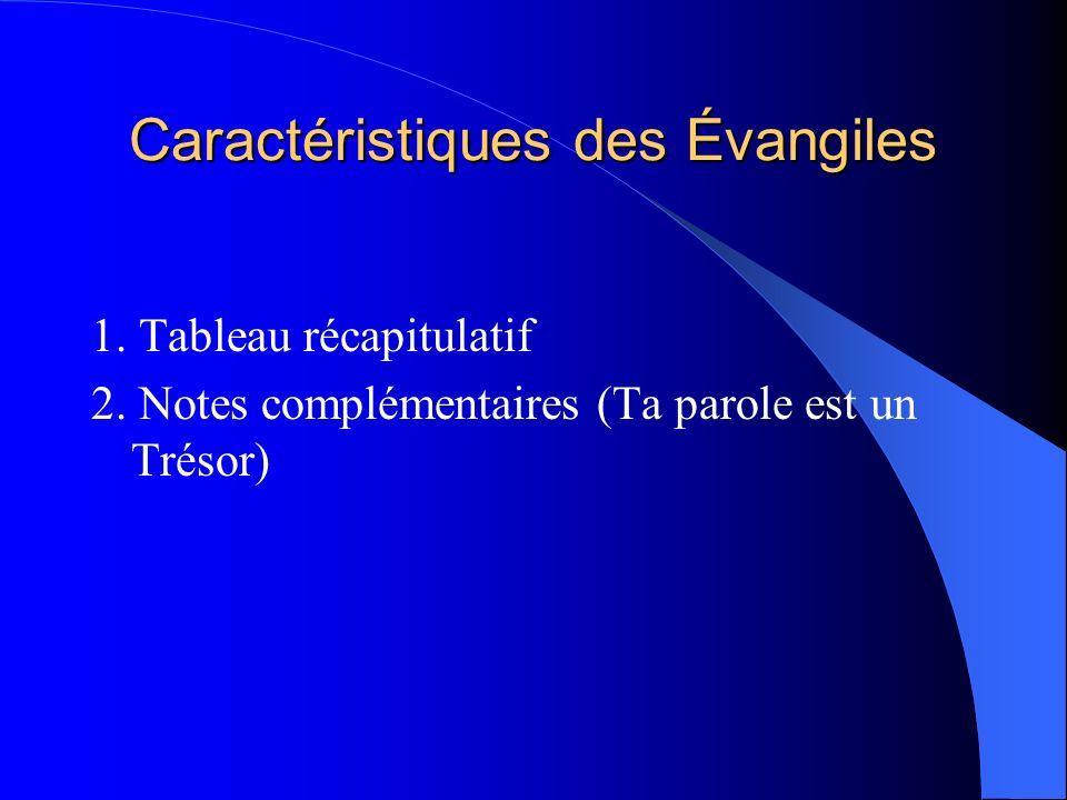 Caractéristiques des Évangiles 1.Tableau récapitulatif 2.