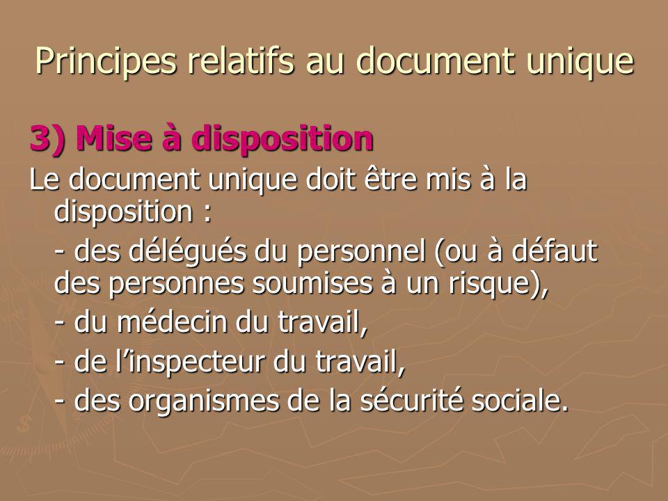 Principes relatifs au document unique 3) Mise à disposition Le document unique doit être mis à la disposition : - des délégués du personnel (ou à défa