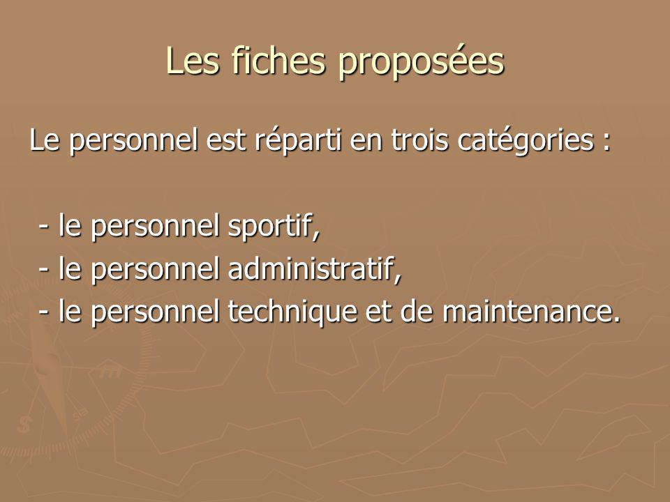 Les fiches proposées Le personnel est réparti en trois catégories : - le personnel sportif, - le personnel sportif, - le personnel administratif, - le