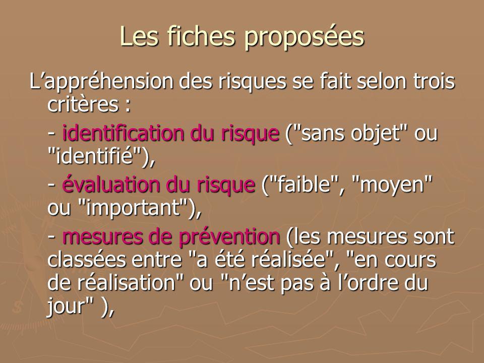 Les fiches proposées Lappréhension des risques se fait selon trois critères : - identification du risque (