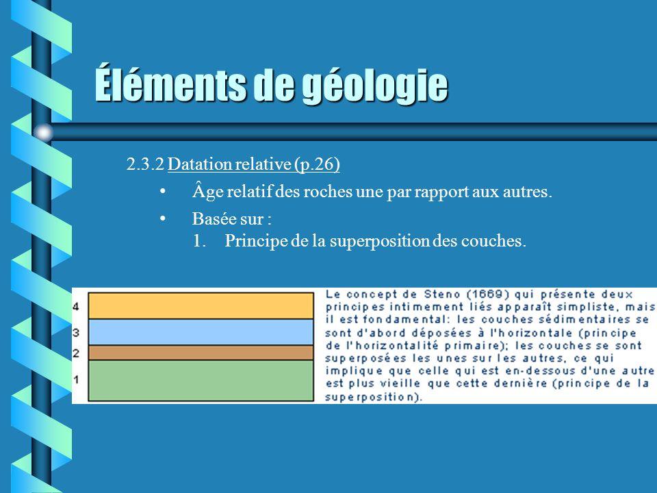 2.3.2 Datation relative (p.26) Âge relatif des roches une par rapport aux autres. Basée sur : 1.Principe de la superposition des couches.