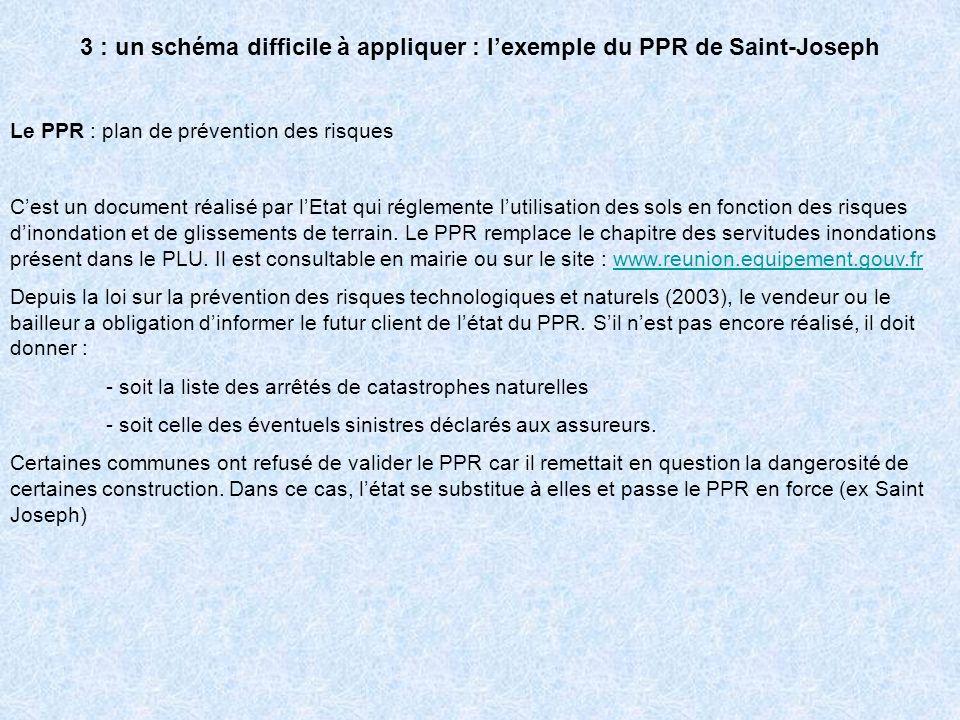 3 : un schéma difficile à appliquer : lexemple du PPR de Saint-Joseph Le PPR : plan de prévention des risques Cest un document réalisé par lEtat qui r