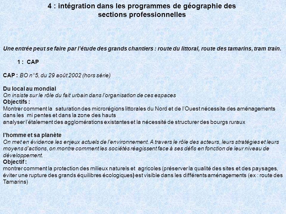 4 : intégration dans les programmes de géographie des sections professionnelles Une entrée peut se faire par létude des grands chantiers : route du li