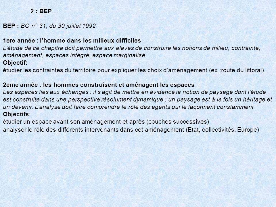 2 : BEP BEP : BO n° 31, du 30 juillet 1992 1ere année : lhomme dans les milieux difficiles Létude de ce chapitre doit permettre aux élèves de construi