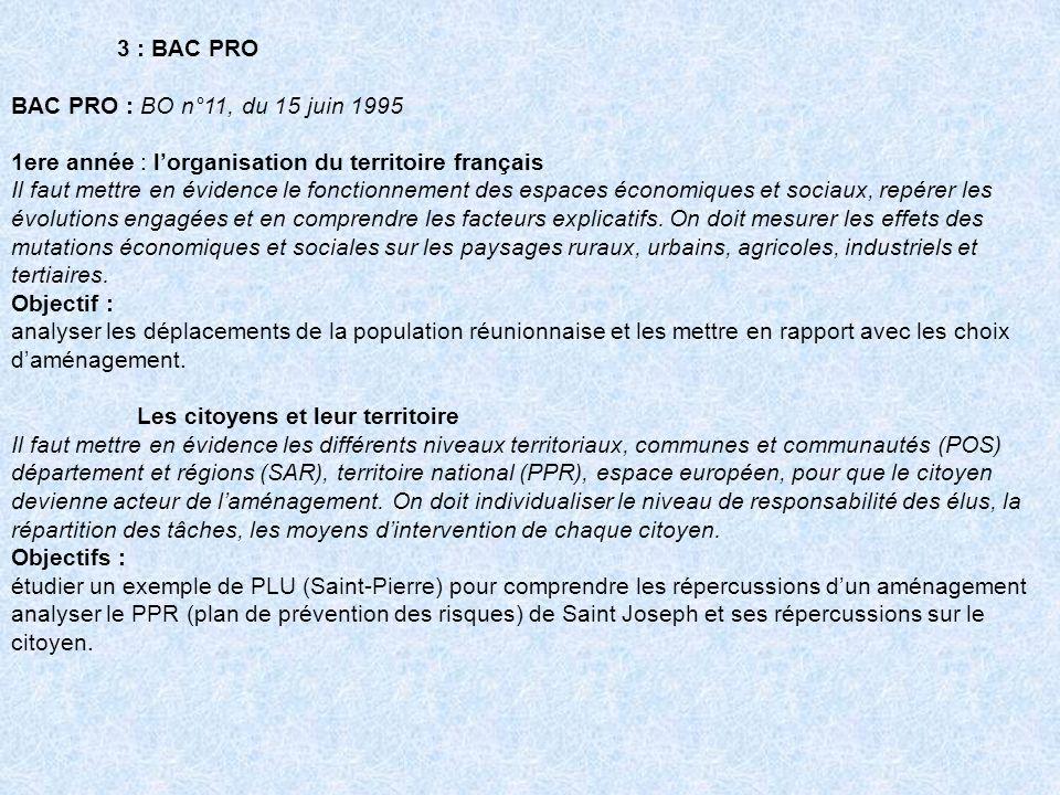 3 : BAC PRO BAC PRO : BO n°11, du 15 juin 1995 1ere année : lorganisation du territoire français Il faut mettre en évidence le fonctionnement des espa