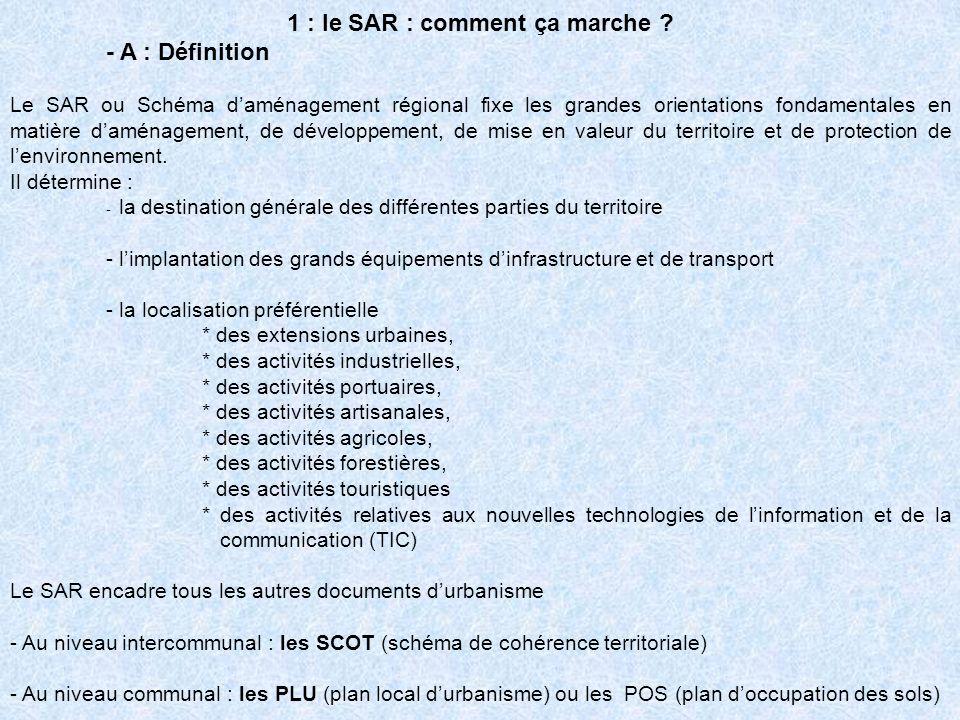 1 : le SAR : comment ça marche ? - A : Définition Le SAR ou Schéma daménagement régional fixe les grandes orientations fondamentales en matière daména
