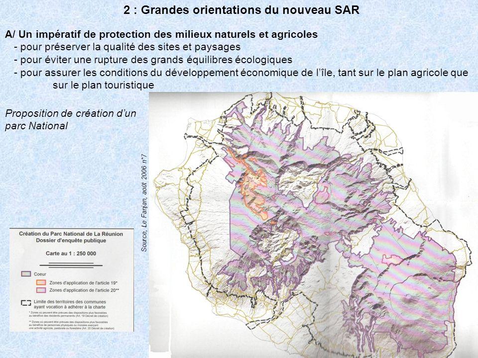 B/ Un aménagement plus équilibré du territoire - pour faire face à la saturation des micro-régions Nord et Ouest, et plus généralement de la zone littorale, par opposition aux mi-pentes et à la zone des Hauts - pour rattraper le retard en équipements des micro-régions Sud et Est Route des Tamarins Route du littoral
