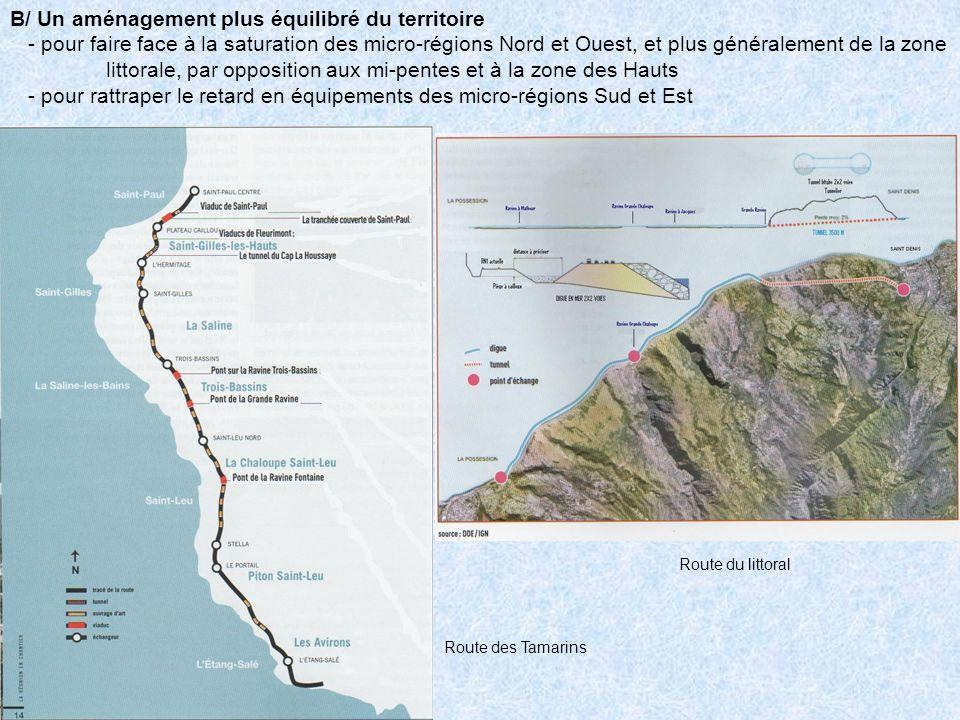 B/ Un aménagement plus équilibré du territoire - pour faire face à la saturation des micro-régions Nord et Ouest, et plus généralement de la zone litt