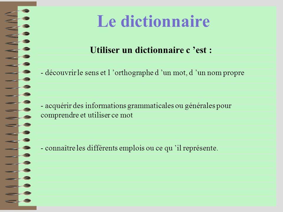 Le dictionnaire Utiliser un dictionnaire c est : - acquérir des informations grammaticales ou générales pour comprendre et utiliser ce mot - connaître