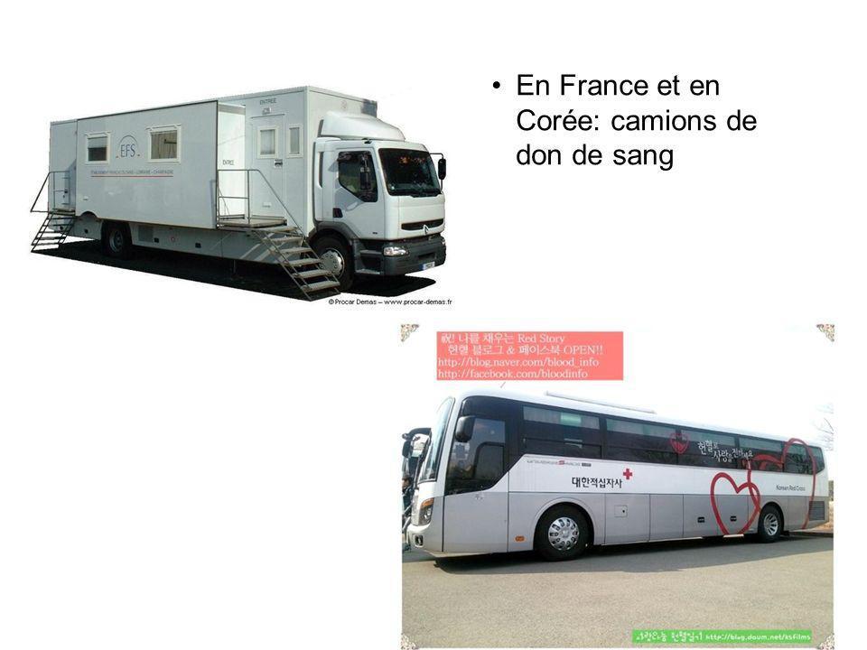 En France et en Corée: camions de don de sang