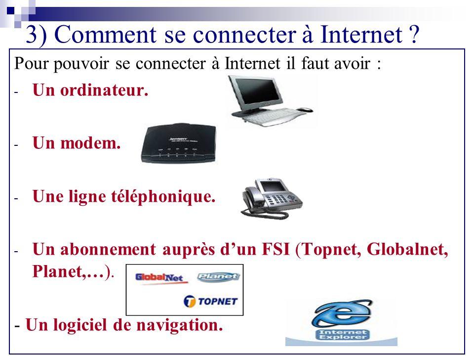 3) Comment se connecter à Internet ? Pour pouvoir se connecter à Internet il faut avoir : - Un ordinateur. - Un modem. - Une ligne téléphonique. - Un