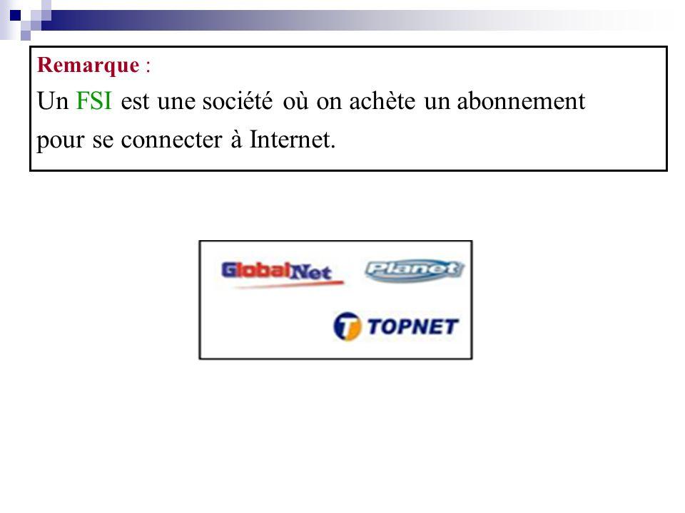 Remarque : Un FSI est une société où on achète un abonnement pour se connecter à Internet.