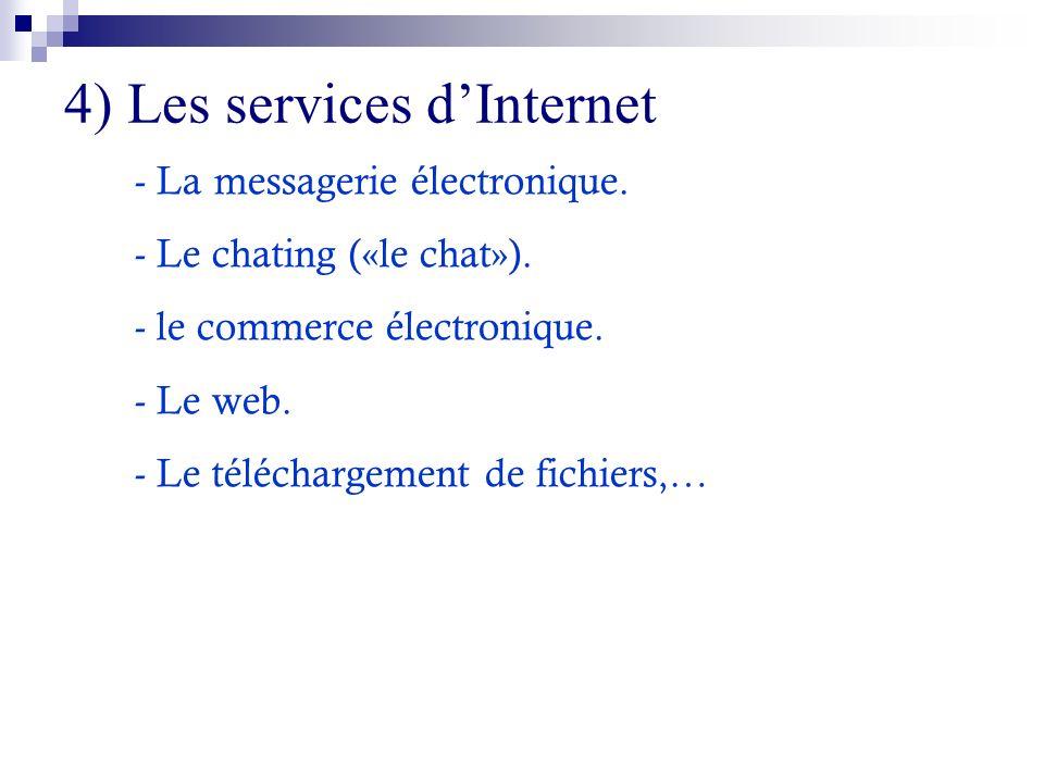 4) Les services dInternet - La messagerie électronique. - Le chating («le chat»). - le commerce électronique. - Le web. - Le téléchargement de fichier